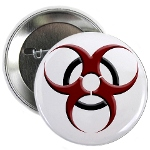 """3D Biohazard Symbol 2.25"""" Button"""