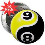 "8 Ball 9 Ball Yin Yang 2.25"" Button (10 pack)"
