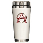 Alpha & Omega Anarchy Symbol Ceramic Travel Mug