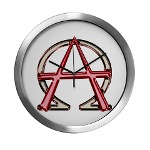 Alpha & Omega Anarchy Symbol Modern Wall Clock