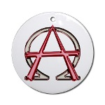Alpha & Omega Anarchy Symbol Ornament (Round)
