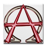 Alpha & Omega Anarchy Symbol Tile Coaster