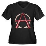 Alpha & Omega Anarchy Symbol Women's Plus Size V-N