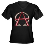 Alpha & Omega Anarchy Symbol Women's V-Neck Dark T