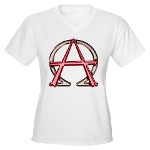 Alpha & Omega Anarchy Symbol Women's V-Neck T-Shir