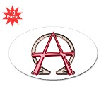 Alpha & Omega Anarchy Symbol 10 Oval Stickers