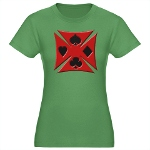 Ace Biker Iron Maltese Cross Women's Fitted T-Shir