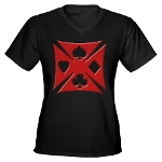 Ace Biker Iron Maltese Cross Women's V-Neck Dark T
