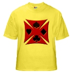 Ace Biker Iron Maltese Cross Yellow T-Shirt