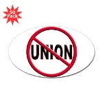 Anti-Union Sticker (Oval 50 pk)