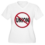 Anti-Union Women's Plus Size V-Neck T-Shirt