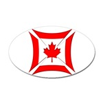 Canadian Biker Cross Oval Sticker