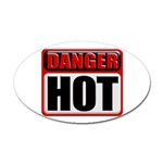 DANGER: HOT! Oval Sticker