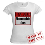 Danger: Flammable Gas Jr. Baby Doll T-Shirt