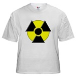 3D Radioactive Symbol White T-Shirt