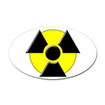 3D Radioactive Symbol Oval Sticker