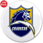 """Chargers Bolt Shield 3.5"""" Button (100 pack)"""