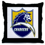 Chargers Bolt Shield Throw Pillow
