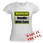 Handle With Care Warning  Jr. Baby Doll T-Shirt