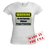 Do Not Operate Warning Jr. Baby Doll T-Shirt