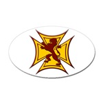 Royal Scottish Biker Cross Oval Sticker