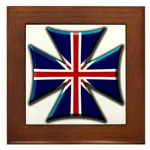 British Biker Cross Framed Tile
