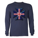 British Biker Cross Long Sleeve Dark T-Shirt