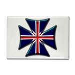 British Biker Cross Rectangle Magnet