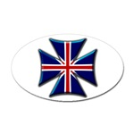 British Biker Cross Sticker (Oval)