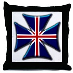 British Biker Cross Throw Pillow