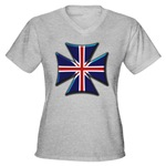 British Biker Cross Women's V-Neck Dark T-Shirt